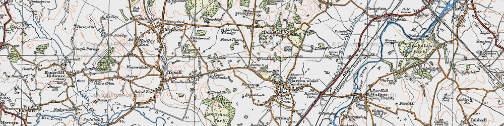 Old map of Barton Gate in 1921