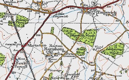 Old map of Barton Hartshorn in 1919
