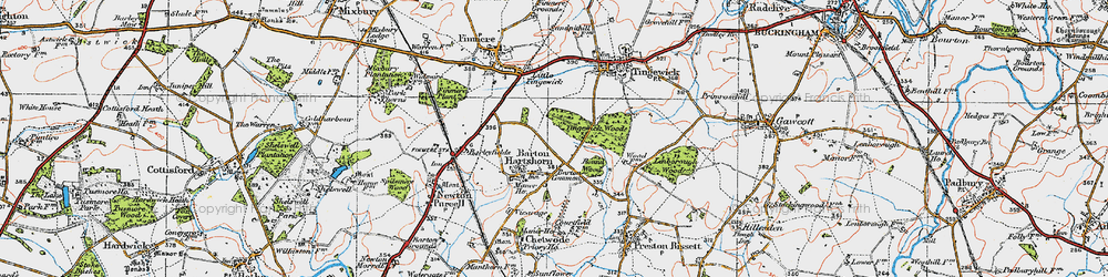 Old map of Tingewick Wood in 1919