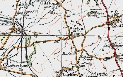 Old map of Barton in the Beans in 1921
