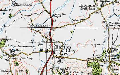 Old map of Barton-le-Clay in 1919