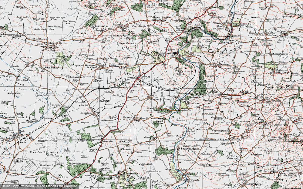 Old Map of Barton-le-Willows, 1924 in 1924