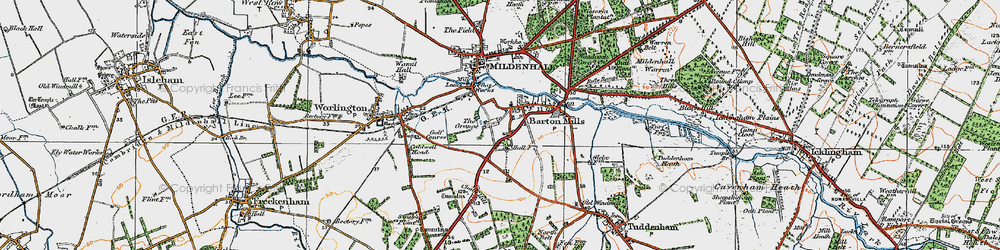 Old map of Barton Mills in 1920