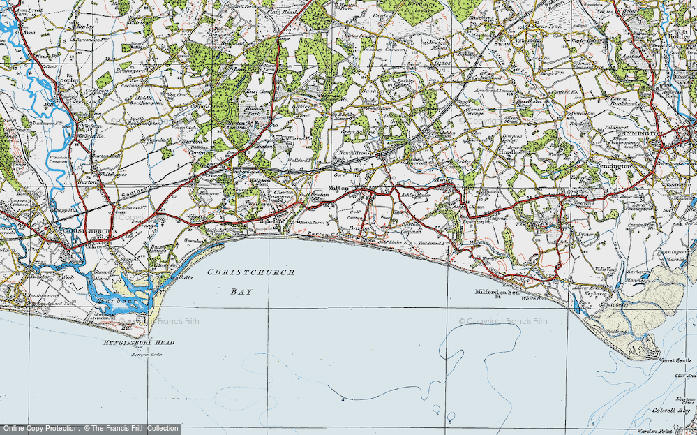 Old Map of Barton on Sea, 1919 in 1919