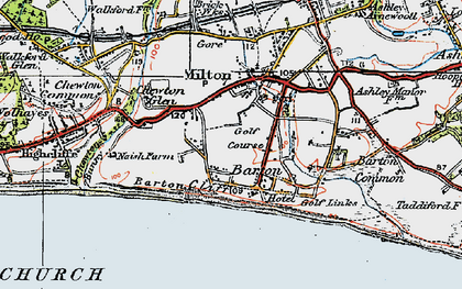 Old map of Barton on Sea in 1919