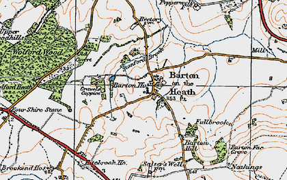 Old map of Barton-on-the-Heath in 1919