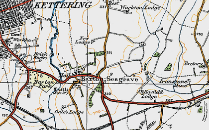 Old map of Barton Seagrave in 1920