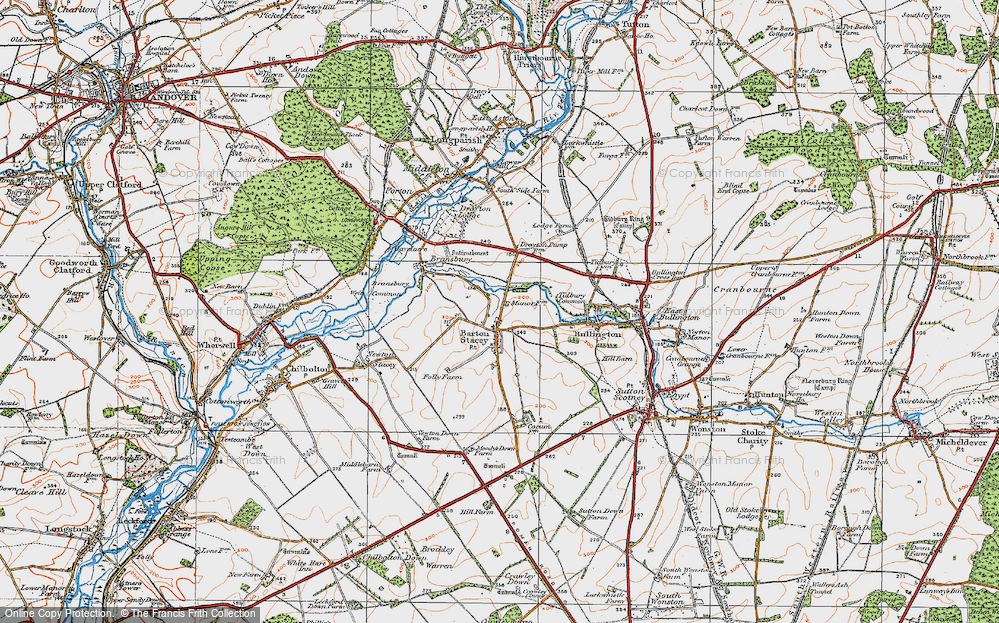 Old Map of Historic Map covering Tidbury Common in 1919