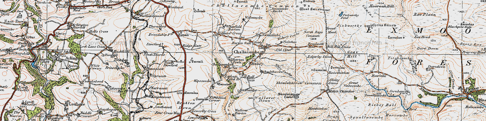 Old map of Barton Town in 1919