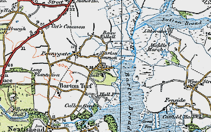 Old map of Barton Turf in 1922