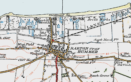 Old map of Barton-Upon-Humber in 1924