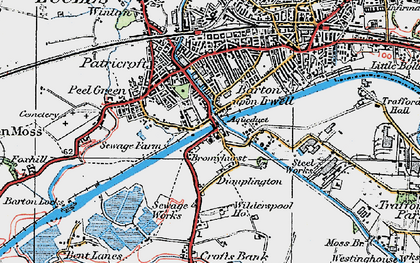 Old map of Barton Upon Irwell in 1924