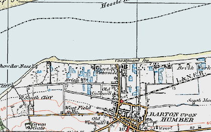 Old map of Barton Waterside in 1924