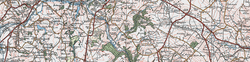 Old map of Whitehough in 1921