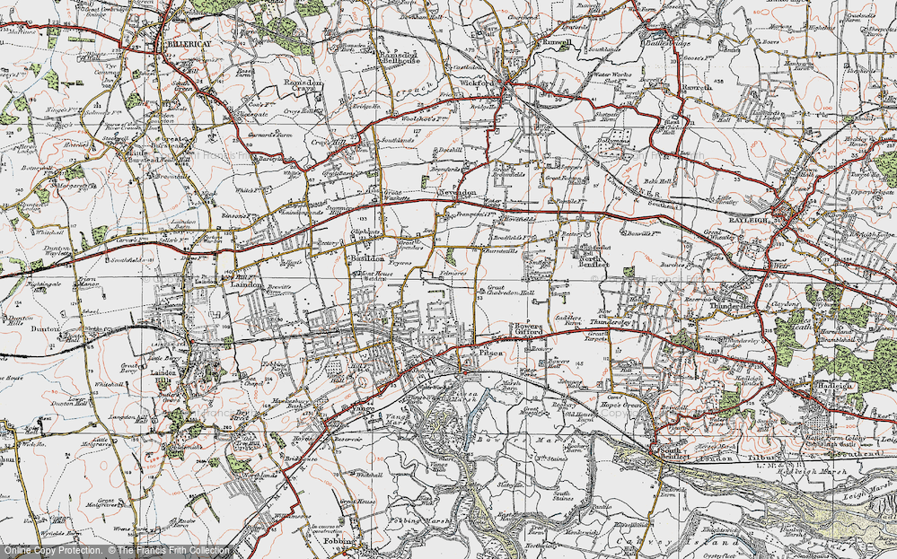 Old Map of Basildon, 1921 in 1921