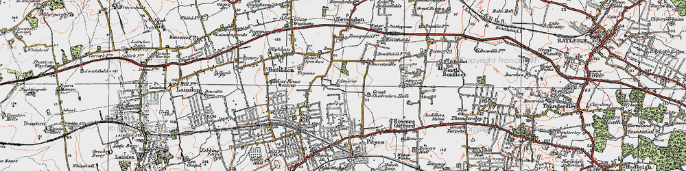 Old map of Basildon in 1921