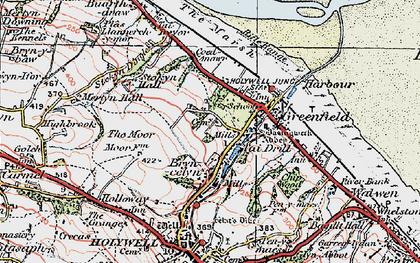 Old map of Basingwerk Abbey in 1924