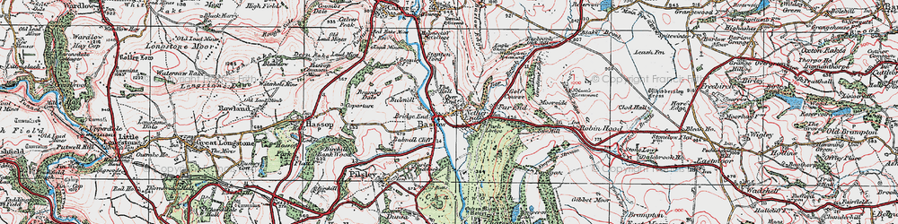 Old map of Baslow in 1923