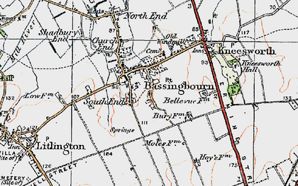 Old map of Bassingbourn in 1920
