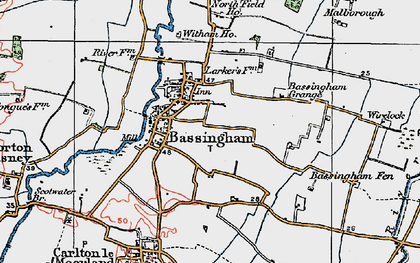 Old map of Bassingham in 1923