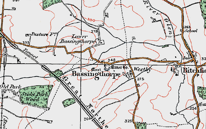 Old map of Bassingthorpe in 1922