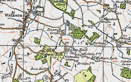 Old map of Bassus Green in 1919