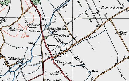 Old map of Baston in 1922