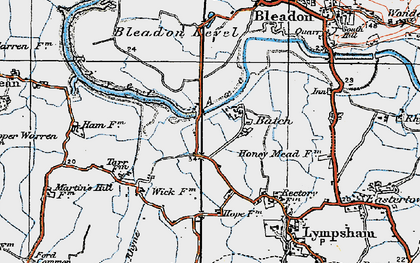 Old map of Batch in 1919