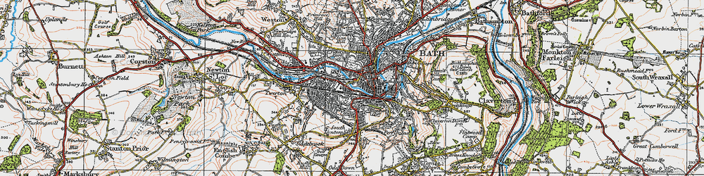 Old map of Bath in 1919