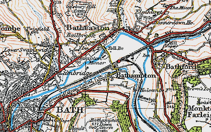 Old map of Bathampton in 1919