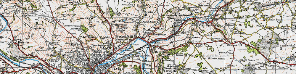 Old map of Batheaston in 1919