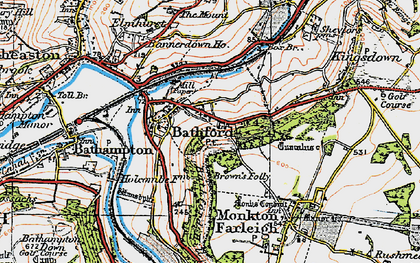 Old map of Bathford in 1919