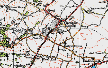 Old map of Bathway in 1919