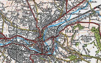 Old map of Bathwick in 1919