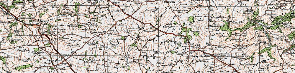 Old map of Batsworthy in 1919