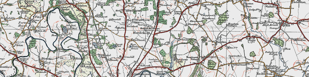 Old map of Albrightlee in 1921