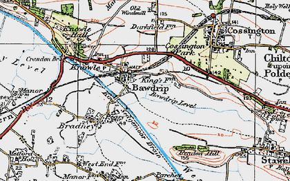 Old map of Bawdrip in 1919