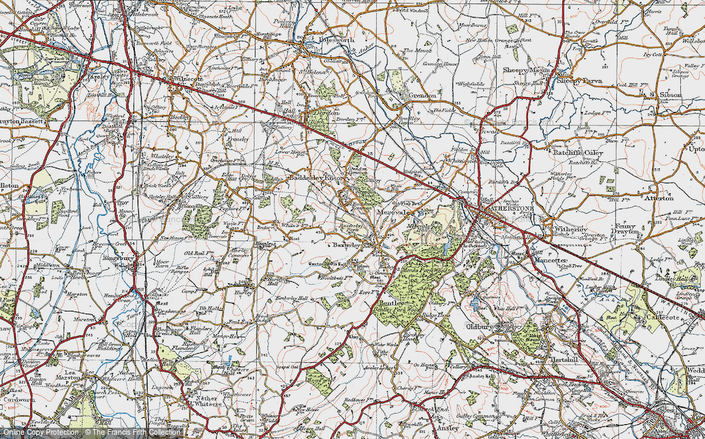 Old Map of Historic Map covering Baddesley Common in 1921