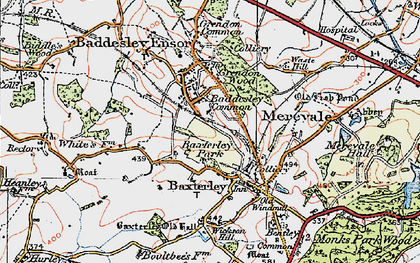 Old map of Baddesley Common in 1921