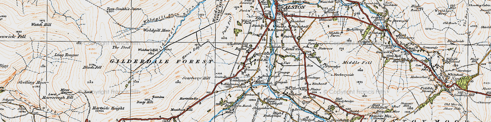 Old map of Woldgill Moss in 1925