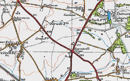 Old map of Baynard's Green in 1919