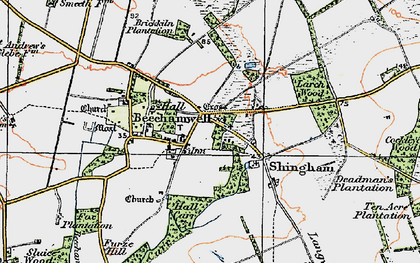 Old map of Beachamwell in 1921