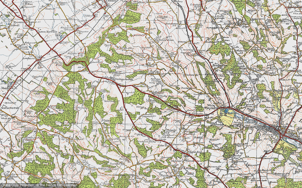 Old Map of Beacon's Bottom, 1919 in 1919