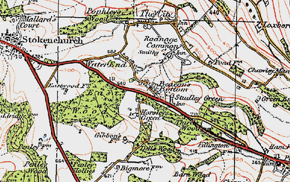 Old map of Beacon's Bottom in 1919