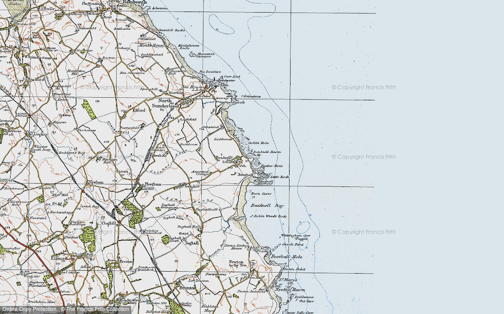 Old Map of Beadnell, 1926 in 1926