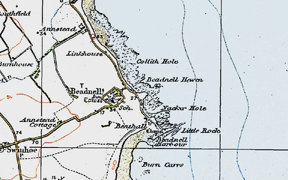 Old map of Beadnell in 1926