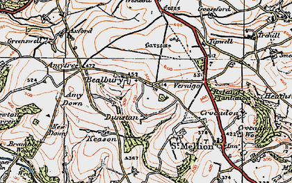 Old map of Axford in 1919
