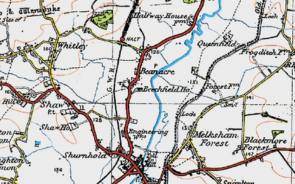 Old map of Beanacre in 1919