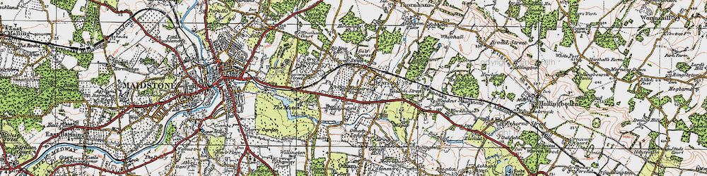 Old map of Bearsted in 1921
