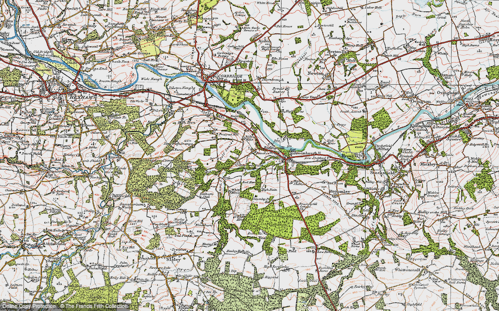 Old Map of Historic Map covering White Hemmels in 1925